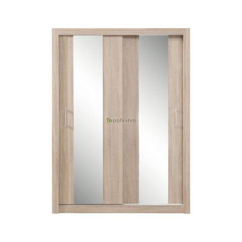 Drsna omara z ogledali DUCA III sonoma hrast