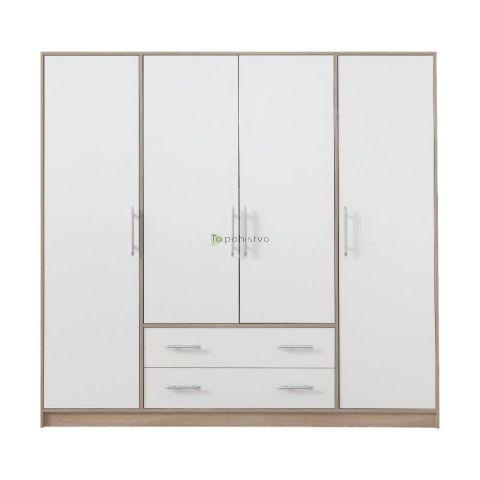 Garderobna omara SMART brez ogledal SR1 BELA/HRAST