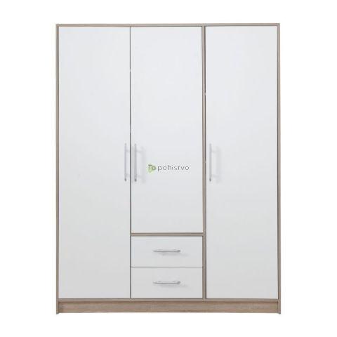 Garderobna omara brez ogledal SMART SR2 BELA/HRAST