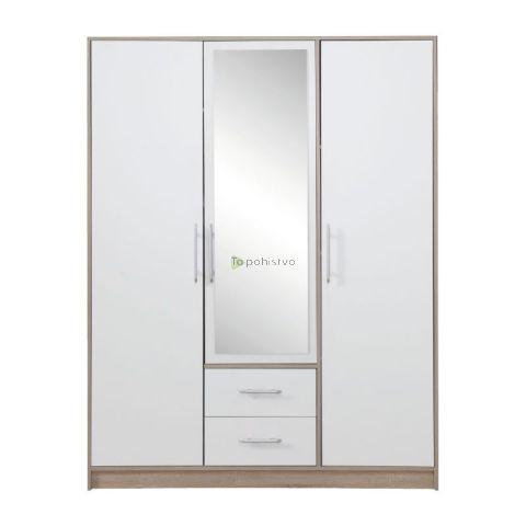 Garderobna omara SMART z ogledali SR2 BELA/HRAST